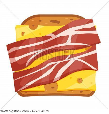 Sandwich With Toast And Ham And Cheese. Breakfast With Bread And Bacon. A Variety Of Delicious Sandw