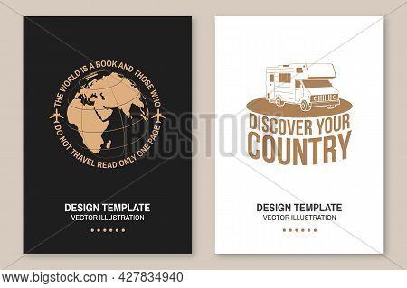 Set Of Travel Badge, Logo Travel Inspiration Quotes With Travel Motorhome, Caravan Car, Globe Silhou