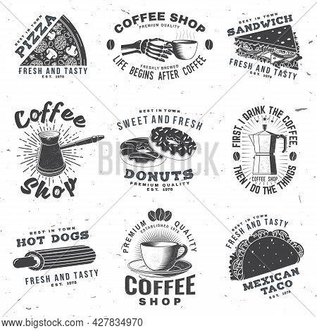 Set Of Coffe Shop Logo And Fast Food Badge. Vector Retro Design With Hotdog, Burger, Pizza, Coffee C