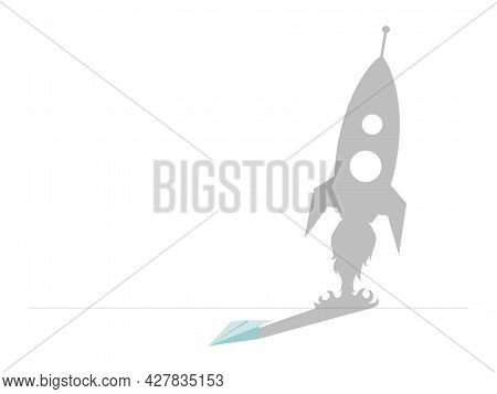 Paper Plane With Shadow In The Shape Of Rocket Vector Flat Illustration Isolated On White Background