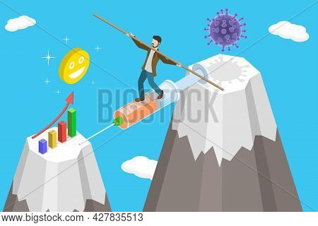3d Isometric Flat Vector Conceptual Illustration Of Economic Recovery From Covid-19 , Positive Impac