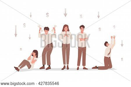 Group Of Sad And Disappointed People Upset About Financial And Business Failure Vector Flat Illustra