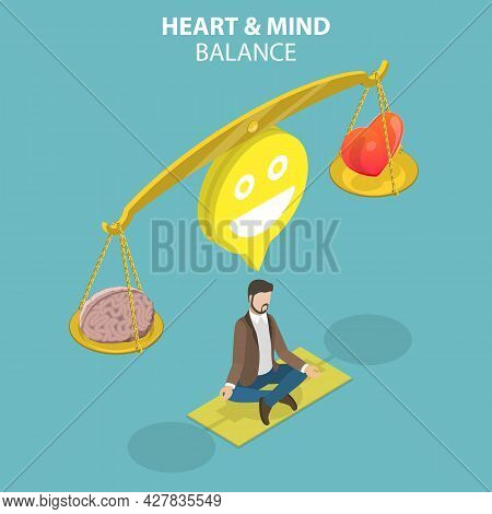 3d Isometric Flat Vector Conceptual Illustration Of Heart And Mind Balance, Inner Feelings And Emoti