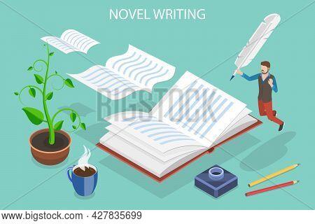 3d Isometric Flat Vector Conceptual Illustration Of Novel Writing, Creativity, Inspiration, And Arti