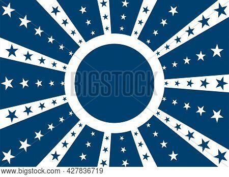 Sunlight Retro Background With Round Frame For Text. Blue And White Color Burst Background With Star