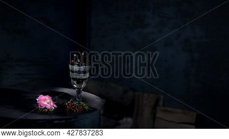 An Exquisite Still Life Of Country Attributes.glass, Cherry, Currant-still Life.dark Background And