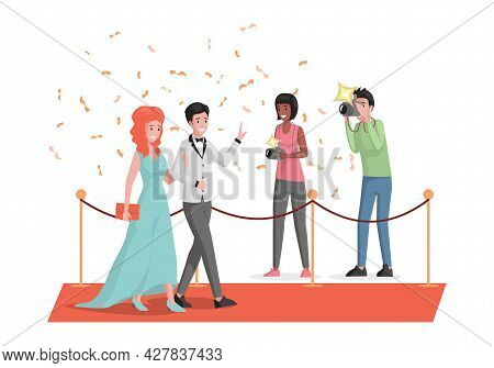 Happy Smiling Celebrities Couple Walking On Red Carpet And Waving Hands Vector Flat Illustration. Fa