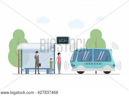 Future Public Express Transport In City Vector Flat Illustration. People At Bus Station Waiting For