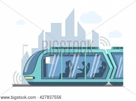 Future Public Express Transport In City Vector Flat Illustration. Futuristic High Speed Train On Bac