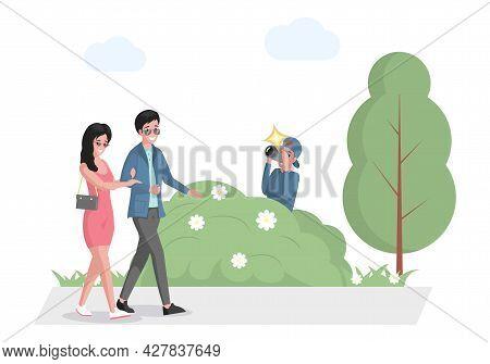 Celebrity Couple Walking In Park, Paparazzi Hiding In Bush With Photo Camera Vector Flat Illustratio