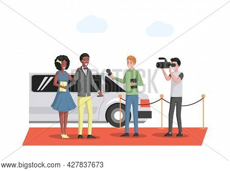 Famous Couple In Evening Wears Arriving At The Red Carpet On White Limousine Vector Flat Illustratio