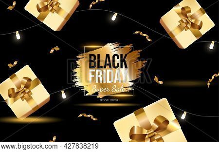 Black Friday Bright Banner Design With Golden Gift Boxes And Lights. Super Sale Vector Neon Advertis