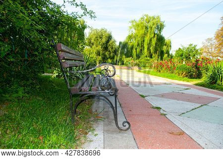 Stylish Bench In The Summer Park. Metal And Wood Bench Outdoors