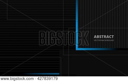 Dark Grey Elegance Business Corporate Abstract Vector Background With Blue And Gray Lines. Minimal G