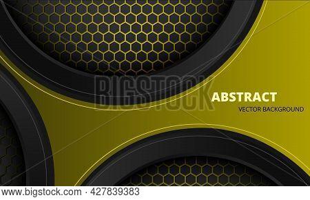 Black And Yellow Abstract Futuristic Metallic Sports Vector Background With Hexagon Carbon Fiber. Da