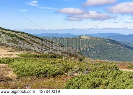 Panoramic Distant View Of Shelter Building On Szrenica From Labski Szczyt In Giant Mountains
