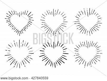 Heart Shape Burst. Hand Drawn Sketch Style. Heart Vector Illustration For Sunburst Frame, Love Quote
