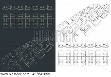 Stylized Vector Illustration Of Track Chain Blueprints Of Tracked Vehicles
