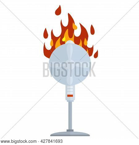 Broken Fan. Fire Appliances. The Flame On The Device. Damaged Broken Equipment. Dangerous Situation.
