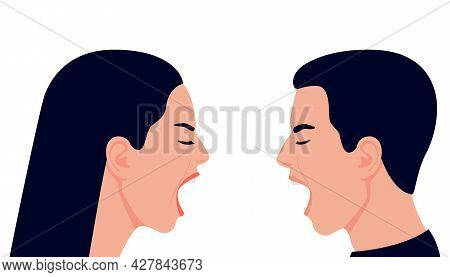 Conflict With Scream, Quarrel Family Couple Man And Woman. Face Profile With Shout, Crisis On Relati
