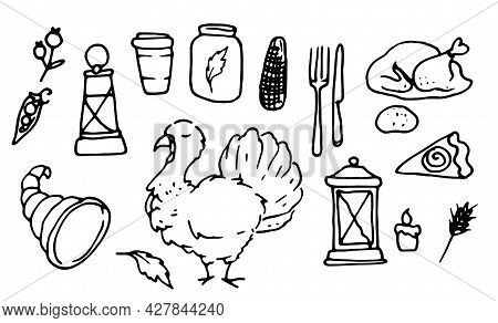 Vector Set For Thanksgiving. Hand-drawn In Doodle Style Collection Of Isolated Elements, Turkey, Cor