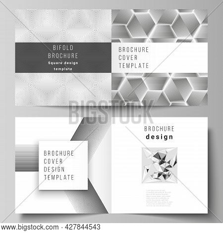 The Vector Layout Of Two Covers Templates For Square Design Bifold Brochure, Magazine, Flyer, Bookle