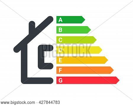 Energy Efficiency. Energy Efficiency Rating. Energy Efficient Home Sign. Vector Illustration Concept