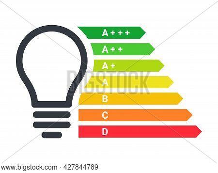 Energy Efficient Light Bulb. Energy Efficiency Rating. Energy Efficiency Scale. Vector Illustration