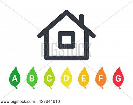 Energy Efficiency. Energy Efficiency Rating. Energy Efficiency Mark For Houses. Vector Illustration