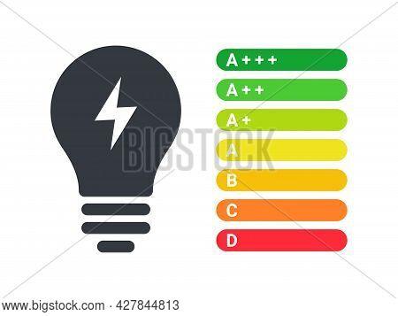 Energy Efficiency Icons. Energy Efficient Light Bulbs. Energy Efficiency Rate. Vector Illustration