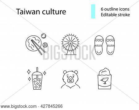 Taiwan Culture Outline Icons Set. Ferris Wheel. Taiwanese Slippers. Milk Bubble Tea. Customizable Li