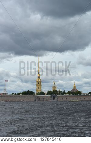 St. Petersburg, Russia- July 28, 2021: View Of The Neva River.