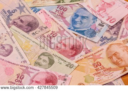 A Composition Of Turkish Lira Tl. Try Banknotes Providing Great Options To Be Used For Illustrating