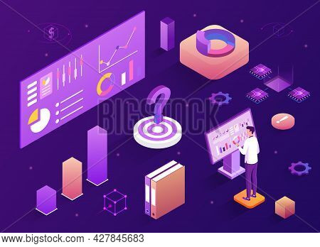 Male Analyst Working On Laptop And Analyzing Statistical Or Financial Information. Business Analysis