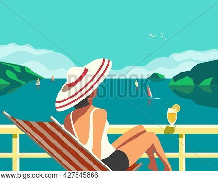 Cruise Vacation Concept Flat Color Vector Poster. Summer Seaside Landscape, Ocean Scenic View Cartoo