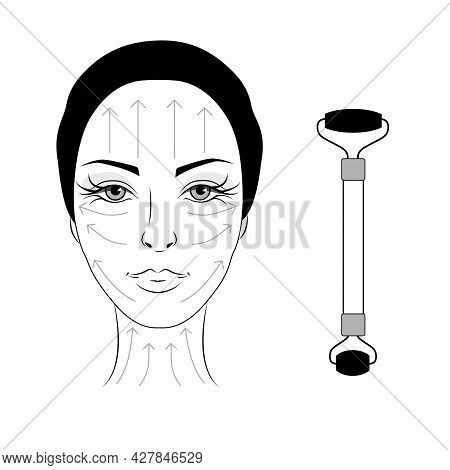 Jade Facial Massage. Woman Face With Massage Lines. Beautiful Woman With Jade Massage Roller. Chines