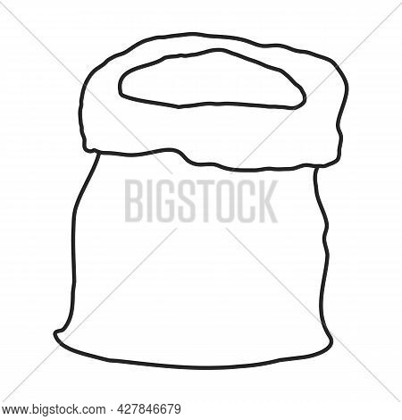 Bag Of Flour Vector Icon.outline Vector Icon Isolated On White Background Bag Of Flour.