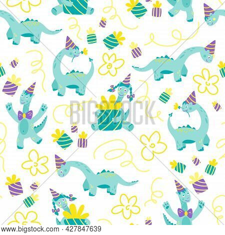 Dino Birthday Party. Hilarious Funny Dinosaurs In Festive Caps And Gifts. Seamless Pattern. Animal B