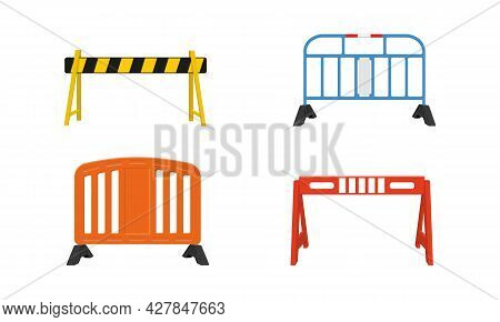 Set Of Metal And Plastic Road Barriers. Different Traffic Obstacles Isolated On White Background. Wo