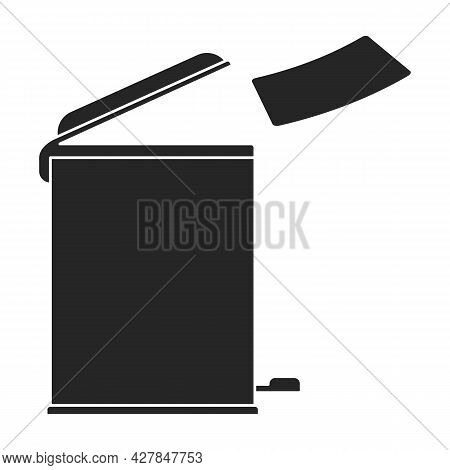 Trashcan Vector Icon.black Vector Icon Isolated On White Background Trashcan.