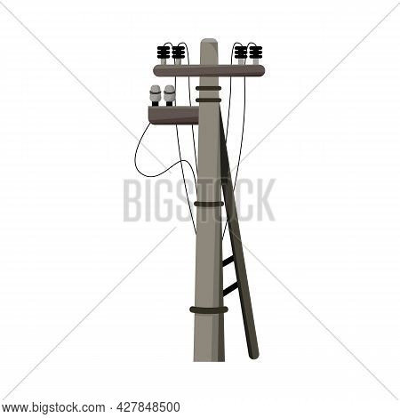 Isolated Object Of Pillar And Electrical Symbol. Graphic Of Pillar And Wooden Stock Symbol For Web.