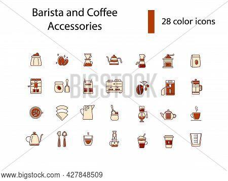 Professional Barista Accessories Flat Icons Set. Coffee Shop Professional Tools. Coffee Preparation.