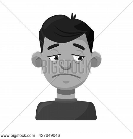 Vector Illustration Of Guy And Sad Sign. Collection Of Guy And Person Stock Vector Illustration.