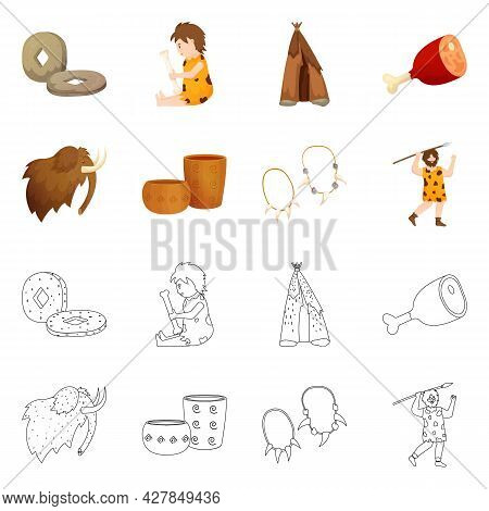 Vector Illustration Of Evolution And Neolithic Icon. Collection Of Evolution And Primeval Stock Vect