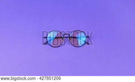 Glasses With A Blue Light Filter To Protect The Eyes While Working At The Computer. Round Glasses Fo