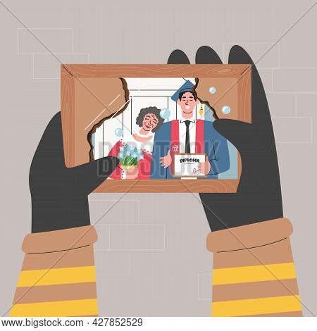 Fireman Hands Holding Burnt Family Photo And Cry. Firefighter Seeing Pic From His Graduation Ceremon