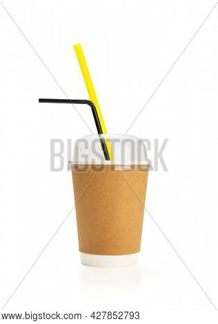 Carton cup for frappe coffee isolated on white background, including clipping path