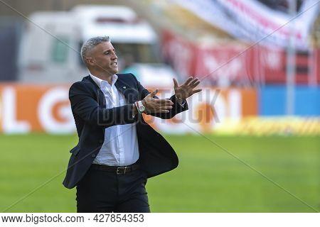 Rio, Brazil - July 25, 2021: Hernan Crespo Coach In Match Between Flamengo 5 Vs 1 Sao Paulo By 14th