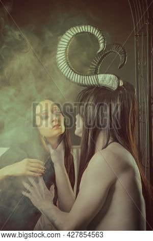 Horned Demon Trying To Touch Innocent Gothic Girl