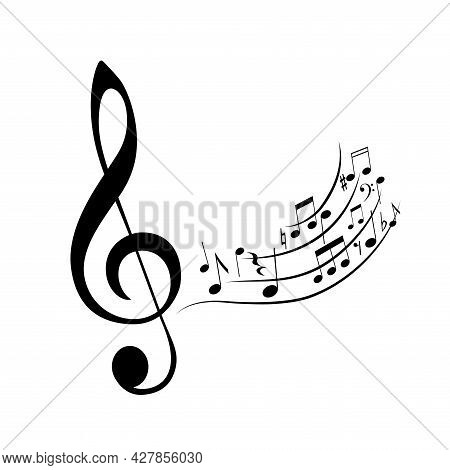 Musical Notes, Design Music Element Isolated On White Background. Monochrome Composition, Sound Back